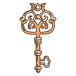 Mão desenhada vaso laranja chave ornamentada