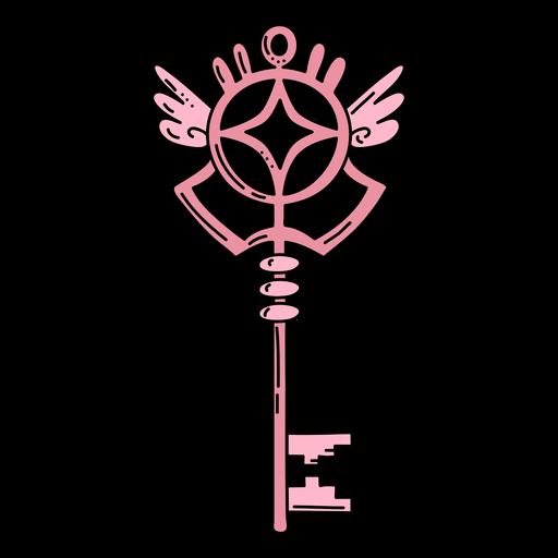 Hand drawn wing pink ornate key