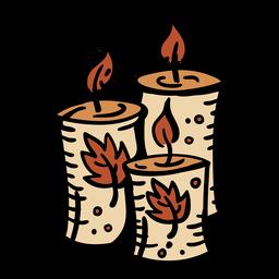 Conjunto de velas dibujadas a mano
