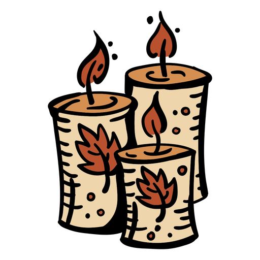 Hand drawn set of candles Transparent PNG