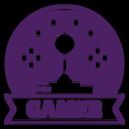 Círculo roxo de distintivo de jogos de joystick