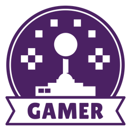 Joystick juego insignia círculo púrpura