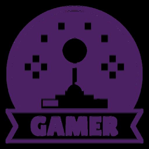 Joystick gaming badge purple circle