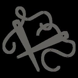 Agujas de tejer hilo plano icono gris