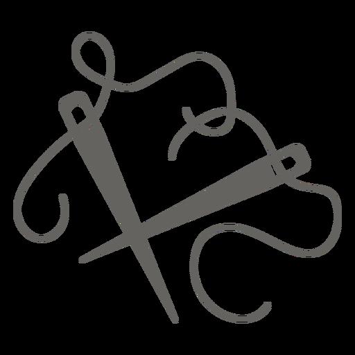 Agujas de tejer hilo icono plano gris