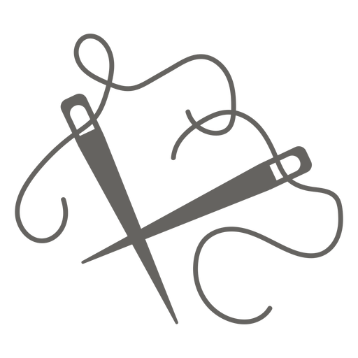Knitting needles thread grey flat icon
