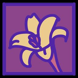 Diseño floral posavasos lirio cuadrado plano