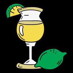 Símbolo desenhado de mão coquetel de limão