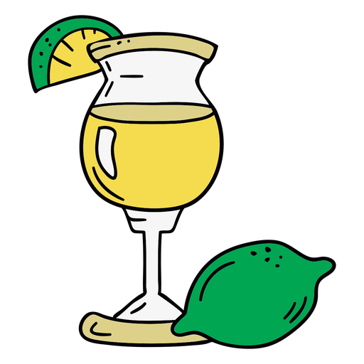 Lime cocktail hand drawn symbol