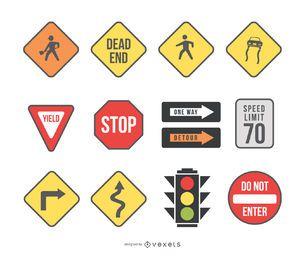 señales de tráfico y semáforo