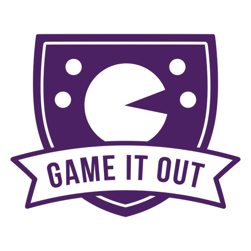 Pack man game it out badge purple Transparent PNG