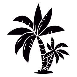 Palm tree hand drawn black