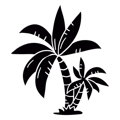 Palmeira desenhada à mão em preto