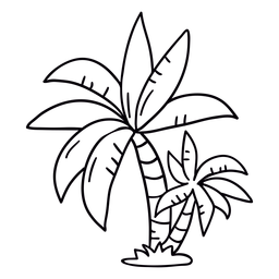 Palm tree hand drawn stroke