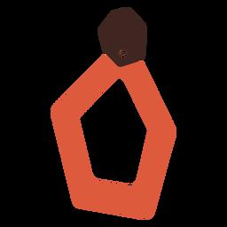 Pendiente pentagon de piel plana