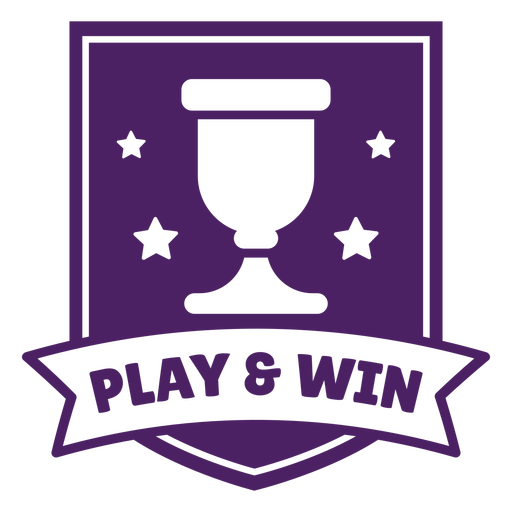 Play win gaming badge purple banner