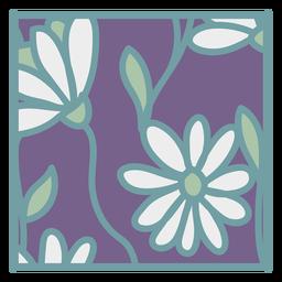 Porta-copo floral branco roxo plano quadrado