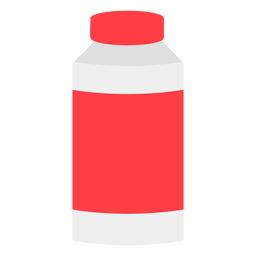 Red bottle with cap flat icon