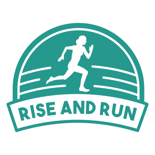 Rise and run female runner badge