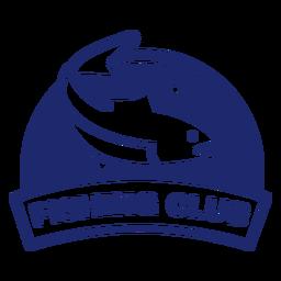 Insignia redonda del club de pesca de peces nadadores azul