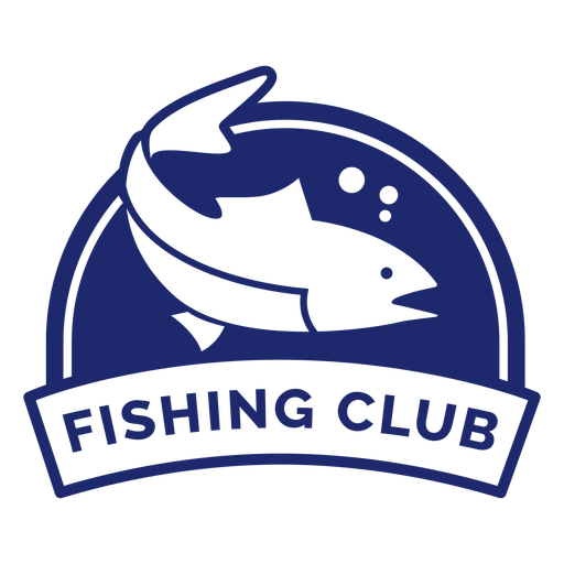 Round swimming fish fishing club badge blue Transparent PNG