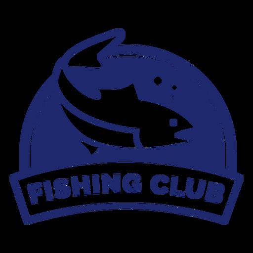 Round swimming fish fishing club badge blue