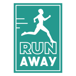 Run away runner badge square