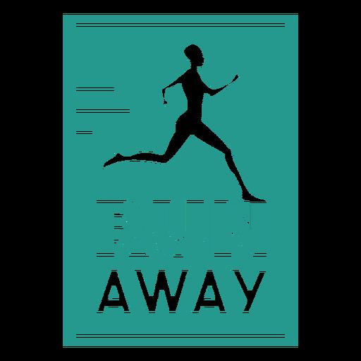 Run away runner badge square