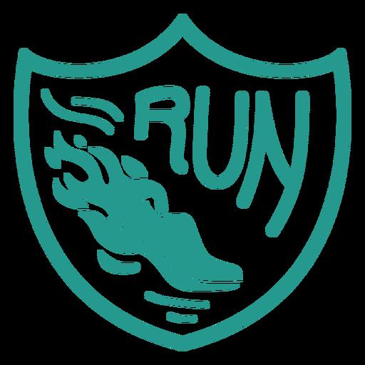 Run shoe shield badge