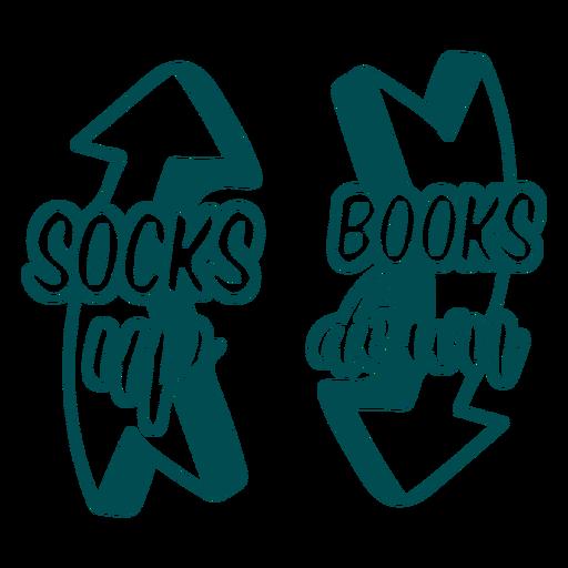 Socks up books down sock design