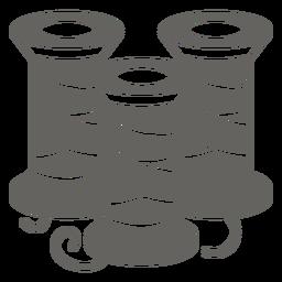 Icono de carrete de hilo gris