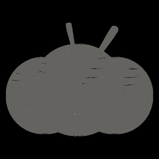 Icono gris de tres bolas de hilo con agujas