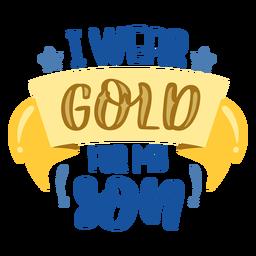 Use oro para la cita de apoyo para el cáncer de hijo