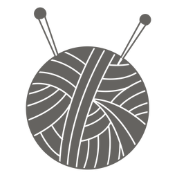 Yarn ball needles grey icon