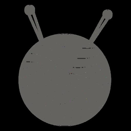 Icono de agujas de bola de hilo gris