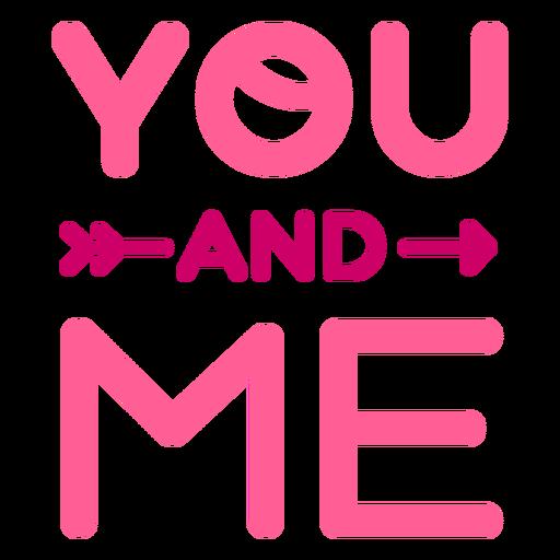 Diseño de letras de san valentín tú y yo