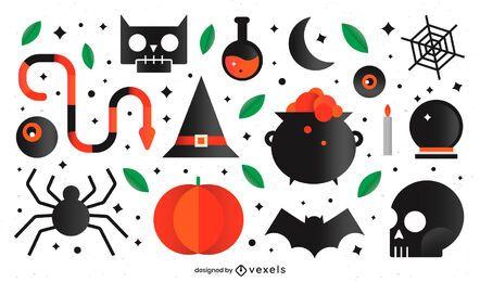 Conjunto de elementos de halloween plana