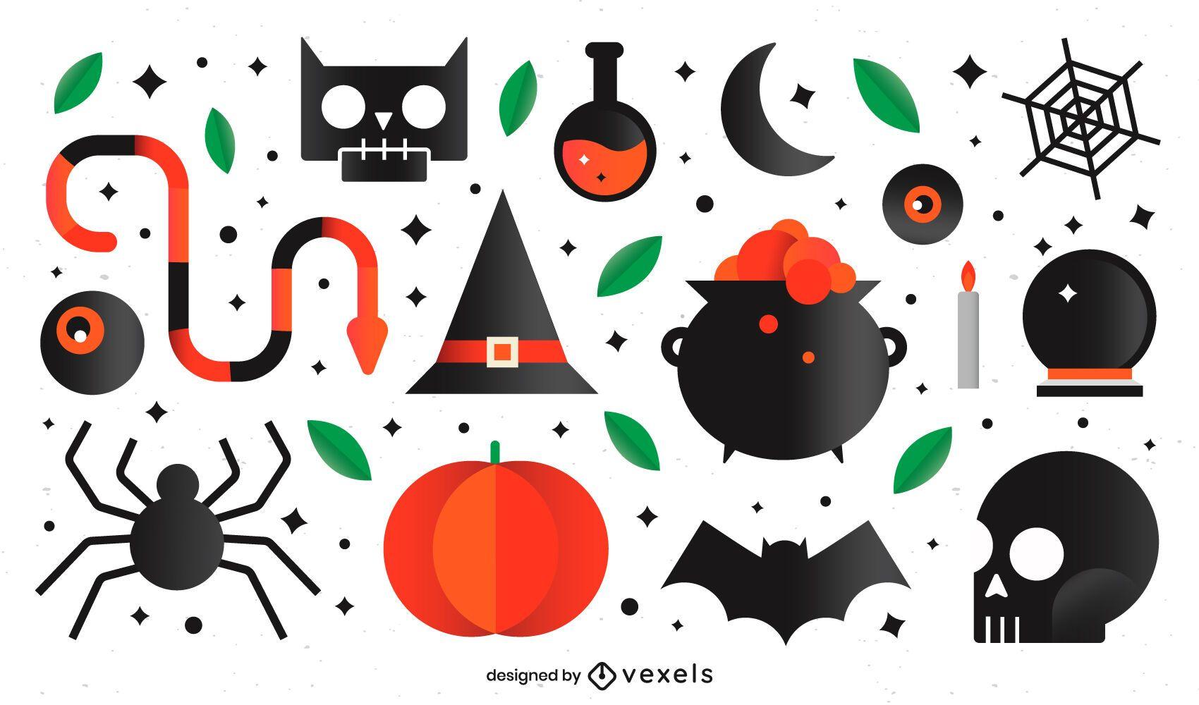 Flat halloween elements set
