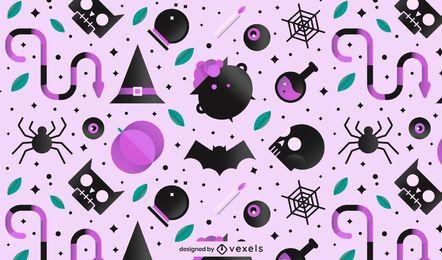 Elementos de bruja patrón de halloween