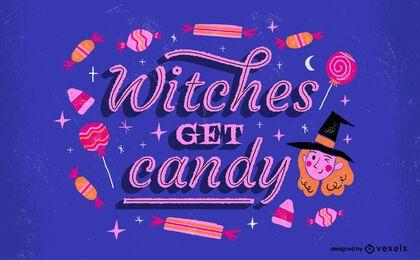 Las brujas obtienen dulces letras de halloween