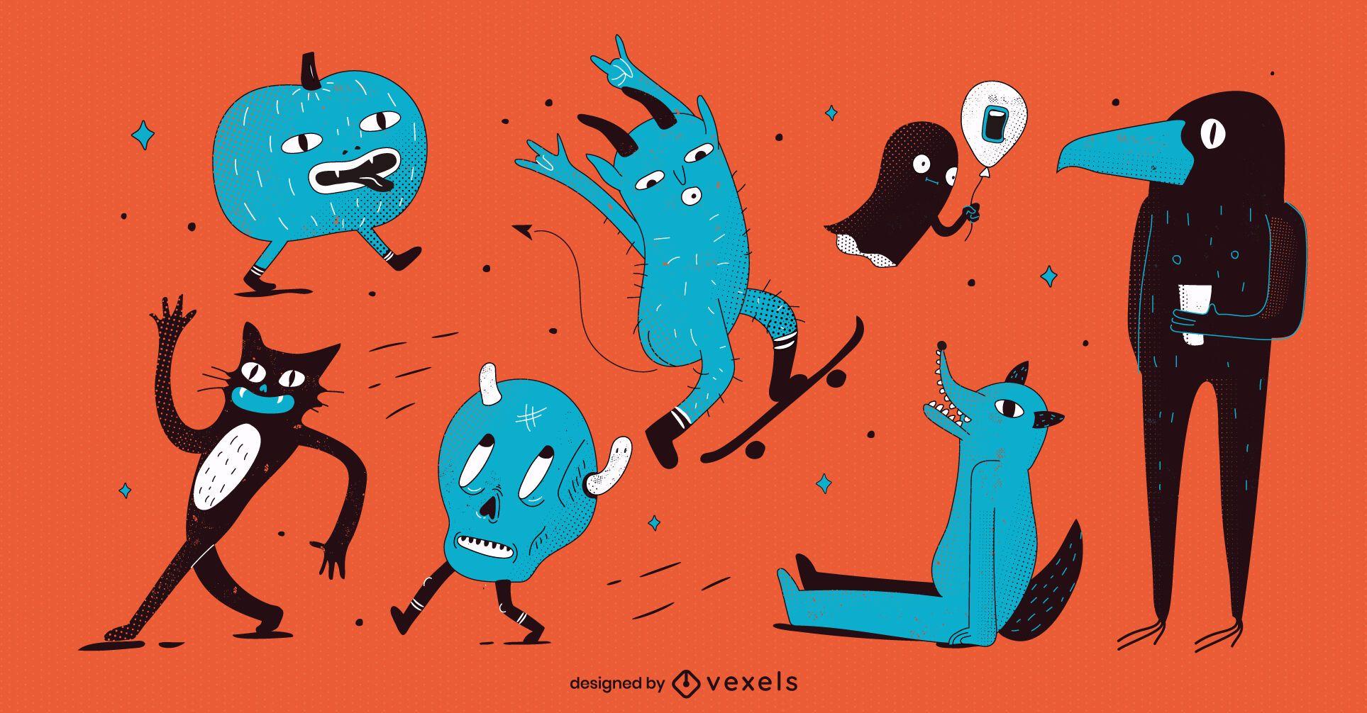 Halloween monsters character set