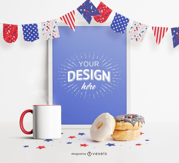 4th of July pennants frame mockup
