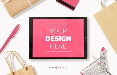 Maqueta de ipad de compras en línea