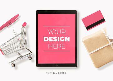 Composición de maqueta de ipad de compras en línea