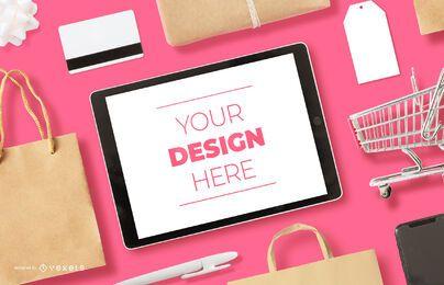 Composición de maqueta de ipad de compras