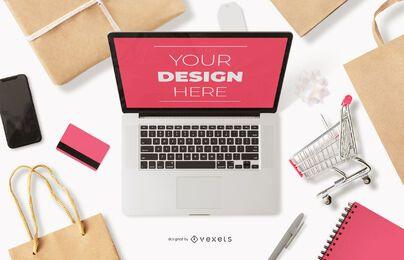 Maqueta de portátil de compras en línea