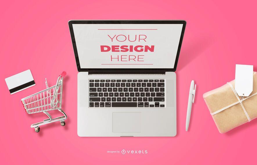 Online shopping laptop mockup composition