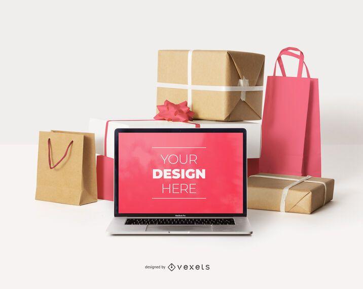 Online shopping laptop boxes mockup