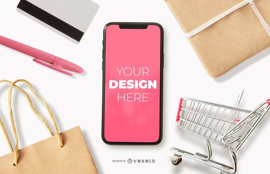 Maqueta de iphone de compras en línea