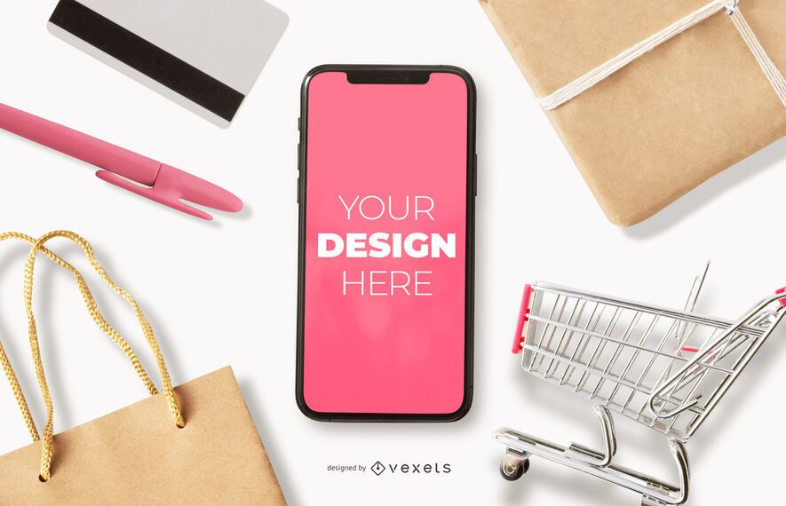 Online shopping iphone mockup